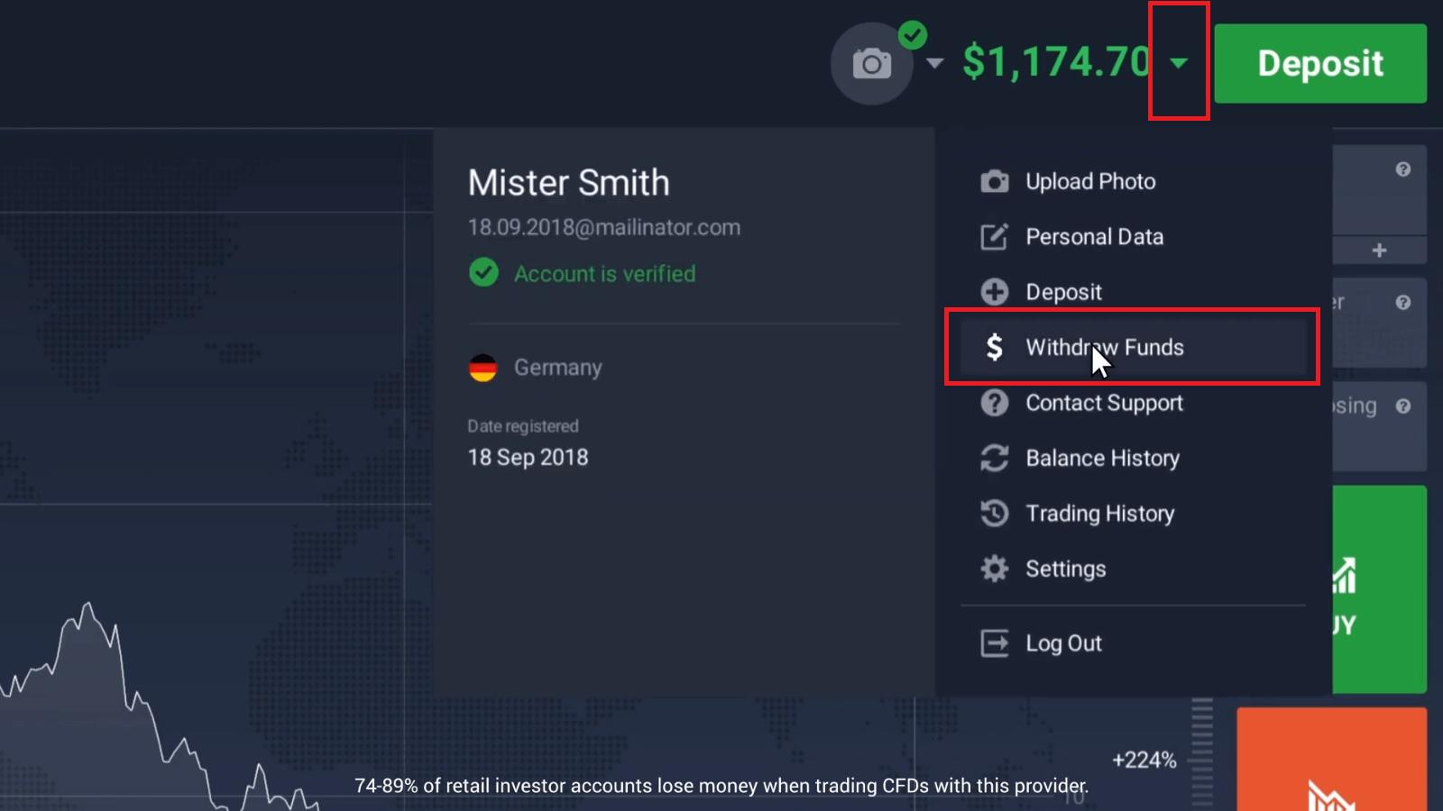 Cómo abrir una cuenta y retirar dinero en IQ Option